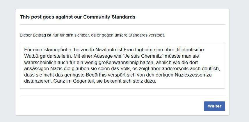 """Die ganz """"normale"""" Facebook-Zensur …"""